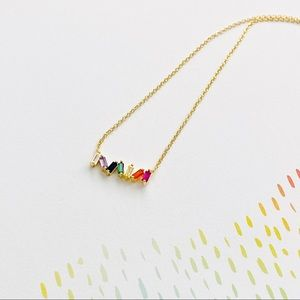 "Rainbow Pride Love Baguette Gold Necklace 18"""